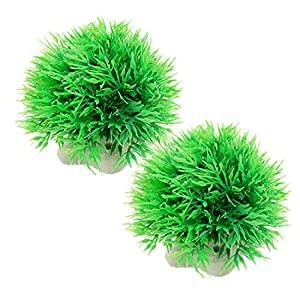 Aquarium Fish Tank Green Plastic Plants Ornament 2 Pcs from sourcingmap