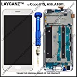 LAYCANZ for Oppo F1S, A59, A1601 White Bezel Frame Full Assembly + TFT Display & Touch Screen Digitizer Assembly + Aluminium 5in1 Tools..
