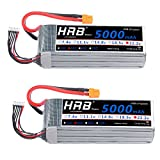 HRB 2pack LiPo Akku 5000mAh 22.2V 50C 6S für FPV Racing Quadcopters Diverse Racing Cars Helikopter Flugzeuge und Modellboote (XT60 Stecker)