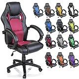 TRESKO Silla giratoria de oficina Sillón de escritorio Racing disponible en 14 colores, bicolor, silla Gaming ergonómica, cilindro neumático certificado por SGS, silla adecuada para niños mayores (Negro / Rosa)