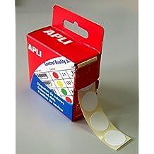 AGIPA Bte Distributrice 150 étiquettes Gommettes de signalisation Rondes 15 mm Blanc