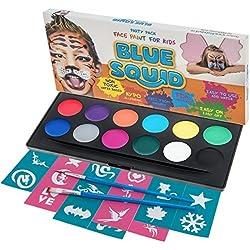 Kit de pintura azul para cara calamar para niños. 12 colores, 30 plantillas, 2 cepillos, juego de pintura facial de mejor valor en caja de cosméticos resistentes, calidad vibrante, base de agua, seguro, no tóxico, vegano + Tutorial en línea libre de BONUS