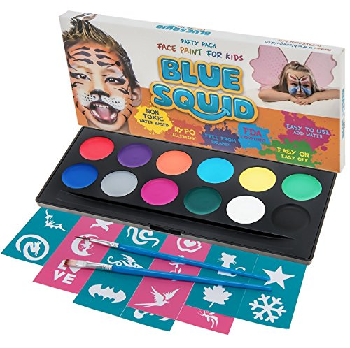 Blu squid face paint kit per bambini. | 12 colori, 30 stampini, 2 spazzole | best value face painting set in caso di forte cosmetici | qualità vibrante a base d' acqua sicuro e non tossico vegan | + bonus free online tutorial