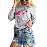 Shujin Damen Herbst Winter gefüttert Rundhals Pullover Casual Sweatshirt mit Flamingo Druck Langarmshirt Oberteile Jumper