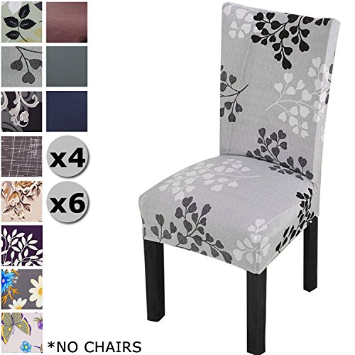 YISUN Modern Stretch Dining Chair Covers Removable Washable Spandex Slipcovers for High Chairs 4/6 PCs Chair Protective Covers (Grey + Leaf Pattern, 4 PCS)