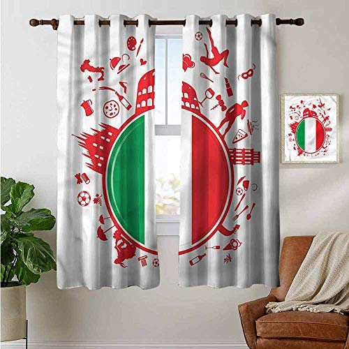 """petpany Blackout Curtains Italian Flag,Soccer Player Pizza,for Bedroom,Nursery,Living Room 52""""x63"""""""
