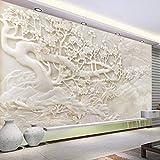 HONGYAUNZHANG Weiße Jade Carving Blume Benutzerdefinierte Fototapete 3D Stereoskopischen Wand Wohnzimmer Schlafzimmer Sofa Hintergrund Wandbilder,170Cm (H) X 250Cm (W)
