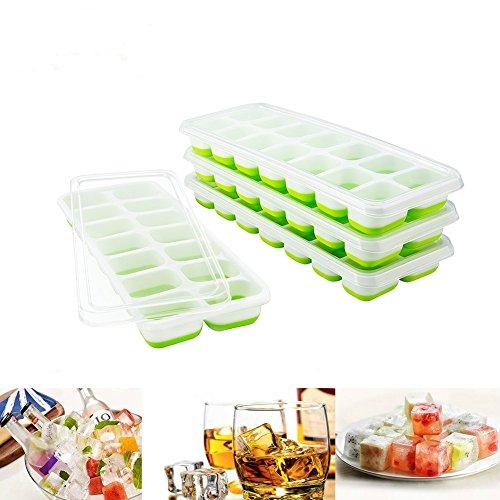 Towinle 4Stk Eiswuerfelformen mit Deckel 14-Fach Eiswürfelbehälter mit LFGB Zertifiziert Babynahrung Einfrieren Behälter Eiswürfel Silikon Eiswürfelbox (Grün)