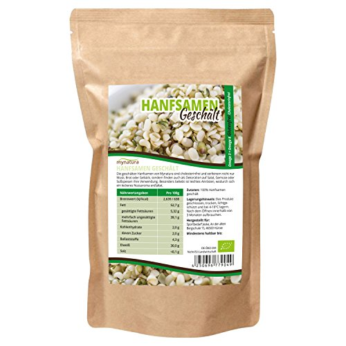 Mynatura Bio Hanfsamen Geschält 1000g Glutenfrei, Cholesterinfrei, Nährstoffreich Omega 3 + Omega 6 | Vegetarisch und Vegan | geprüfter Bio-Qualität (DE-ÖKO-044) ((1x1000g)) -