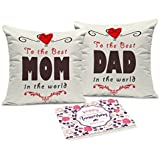 [Sponsored]Tied Ribbons Gifts For Mummy Papa Set Of 2 Printed Cushion (12 Inch X 12 Inch,Multicolor) With Inner Filler And Greeting Card