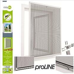 Mosquitera con marco de aluminio para ventanas proLINE - 100 x 120 cm - blanco