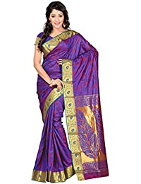 Varkala Silk Sarees Women's Art Silk Kanchipuram Saree With Blouse Piece(JP7104RBRD_Blue_Free Size)