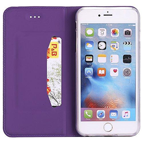 JIALUN-Telefon Fall Solid Color Synthetik Leder Telefon Fall, Magnetische Verschluss Bookstyle Folio Stand Case mit Card Slot für iPhone 6 Plus & 6s Plus ( Color : Rosegold ) Purple