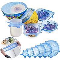 Tapas elásticas de silicona, paquete de 6 tamaños de cubierta de ahorro de alimentos flexible, reutilizable y duradero, cubierta de mantenimiento fresco, tapas de alm acenamiento de alimentos Tapas elásticas de ahorro