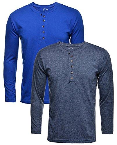 aarbee Men's Cotton Full Sleeve Henley T-Shirt - Combo of 2 in...
