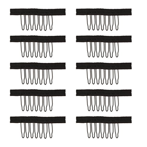 Kappen Zähne (Gazechimp 10 Stück 7 Zähne Haarverlängerung Tressen Clips Perücke Kämme Spitze Kappe Clips Spitze Perücke Zubehör (Schwarz) - S)
