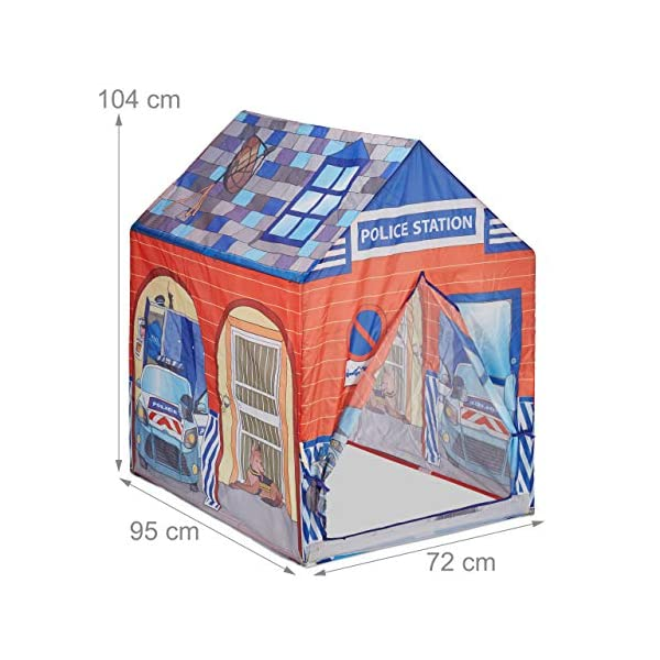 Relaxdays Police Station Play Tent for Children, Outdoors, 3 and Up, Fabric Kids Playpen HWD 102 x 72 x 95 cm, Blue-Red Relaxdays Large: This red and blue play tent with 2 entries measures H x W x D app. 102 x 72 x 95 cm With print: Police station tent - Print with police car and dog - Perfect for playing detective Lots of fun: The non-toxic play tent provides loads of fun for kids aged 3 and up 4