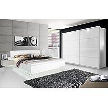 silent komplett schlafzimmer weiss hochglanz 4 teilig 200 cm - Schlafzimmer Weis Hochglanz