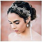 SWEETV Bandeaux Cheveux Headbands Couronne Perle Faux Diamant Bohémien Mariage Accessoires de Coiffure pour Femmes, Argent