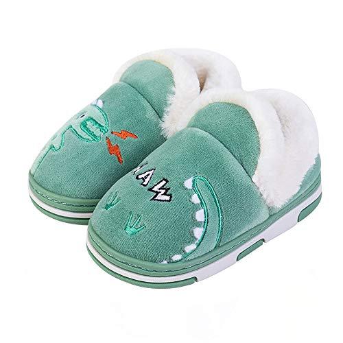 Coralup Little Kids Cute Dinosaur Winter Slippers Toddler Soft Plush Shoe Baby Boys Girls Warm House Shoes Blue Size UK 6.5-13.5 Kids