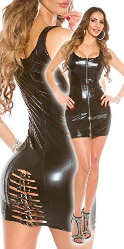 Sexy Koucla GoGo Minikleid mit Schnallen, schwarz