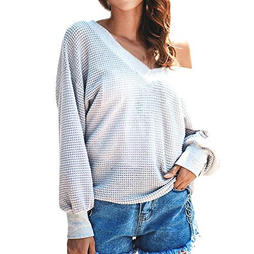 OSYARD Damen Sweater Oberseiten Pullover Sweatshirt, Frauen Reine Farbe Tunika Hemd Kleidung...