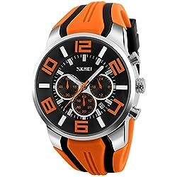 Reloj hombre cronógrafo Sport Joven Reloj Militar reloj de pulsera Hombres Modelos analógico de cuarzo naranja Skmei