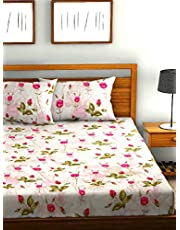 Urban Space - Regal 210TC Summer Collection Cotton Double King Size Bedsheet with 2 Pillow Covers, 108 * 108 inch, Sateen Stripes