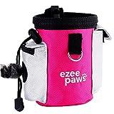 Ezee Paws- Bolsa para recompensas de perro, bolsa de entrenamiento del cachorro con dispensador de bolsitas para cacas–incluye clip para la cintura y 1rollo de bolsas para cacas