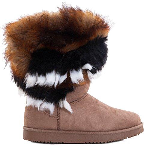 Toocool - Stivali bassi donna scamosciati interno pelliccia stivaletti caldi scarpe 5192 Kaki