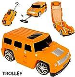 Unbekannt 3 in 1: großer _ Kinder - Trolley + Sitz -Koffer -  Auto - Jeep / Truck - orange  - Sitzkoffer zum Ziehen + Schieben / Sitzen & Spielen - Jungen - Trolly mi..