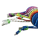 willkommens-shop.de bunt flach Textil Daten-Ladekabel für Apple iPhone 5/5S/6 ipad lightning 1 Meter Blau