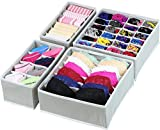 House of Quirk Set of 4 Foldable Storage Box type Non-Smell Drawer Organizer Closet Storage for Socks Bra Tie Scarfs - (Grey)