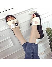 Sandali Infradito Donna Moda Femminile Infradito Sandali con Fiore Piatto Sandali  con Zeppa Alta e Pantofole Scarpe da… d9450e53ceb
