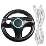 Afunta Steering Wheel for Wii U and Wii with Charging Cable, Racing Wheel Case for Mario Kart 8 Games, with 10 ft USB Charger Cord (Black, White)