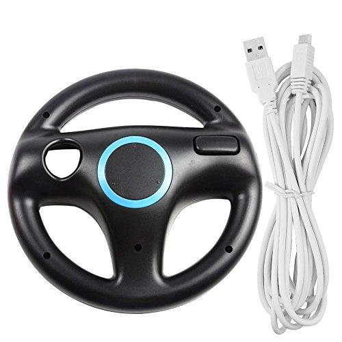 Lenkrad für Wii U und Wii mit Ladekabel, AFUNTA Racing Wheel Case für Mario Kart 8 Spiele, mit 10ft USB Ladekabel - Schwarz, Weiß Wii-remote-kabel