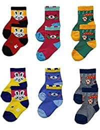 Sio™ Premium Cotton Woolen Mix Baby Boys/Girls Socks (6 Month to 5 Yrs) Pack of 6 Pairs (1-2 Years)