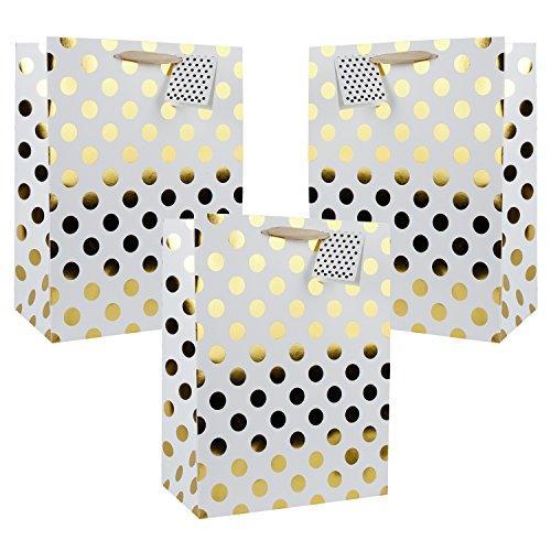 - 250 x 125 x 330 mm - Große Goldtupfen Geschenk-Taschen für Hochzeit, Gefälligkeiten und Baby-Duschen (Geschenk-taschen Für Baby-dusche)