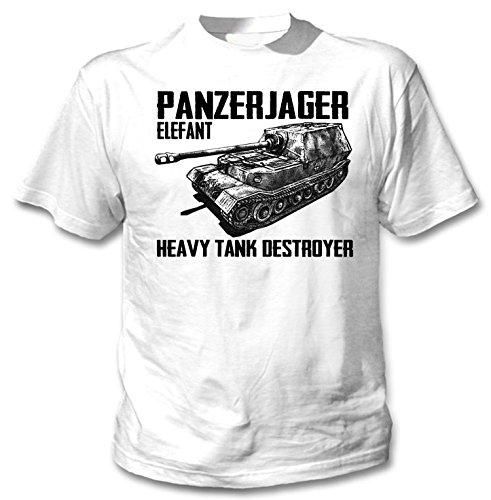 teesquare1st Panzerjager Elefant Camiseta Blanca para Hombre de Algodon Size Xxxlarge