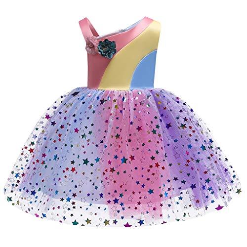 Lazzboy Blumenbaby-Prinzessin Bridesmaid Pageant Gown Birthday Party Wedding Dress Mädchen Kleid Prinzessin ärmellos Blumen Hochzeits Festzug Blumenmädchen Kleider(Gelb,Höhe100)