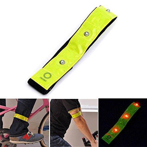 ELEGIANT Sport Armband 4 LED Verstellbar Armband Reflektierende blinkende High Visibility Armband Radfahren Laufen Walking Running Freizeit Sicherheit