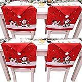 LAEMILIA Lot de 4 Noël Housses Couverture Décoration Cadeau Santa Chaise Table Cuisine Salle à Manger Hôtel Fêtes Nouvel an 4pcs 60 * 49cm
