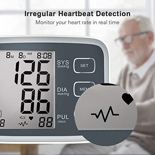 HYLOGY Misuratore Pressione da Braccio Digitale, Sfigmomanometro da Braccio Pressione Arteriosa, Grande Schermo LCD, 2 * 90 Posizioni di Memoria (grigio) (GRIGIO) - 4