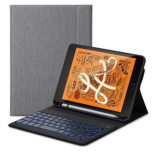 ,Mini 5 Tastatur Flip Schützend Case,[Schlafen/Wachen Smart] [Stifthalter] [PU Folio Stand] Drahtlose Bluetooth Tastatur(Deutsch) für das iPad Mini 5 (2019),Grau ()