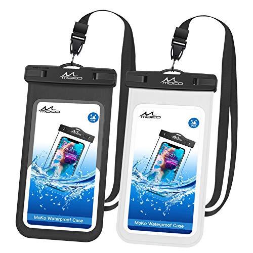 MoKo wasserdichte Handyhülle, 2 Stück Universal Handytasche mit Schlüsselband Kompatibel mit iPhone X/Xs/Xr//Xs Max, 8/7/6s Plus, Samsung Galaxy S9/S8 Plus, S7 Edge, Note 9/8, Schwarz + Weiß (Nokia At&t Windows Phone)