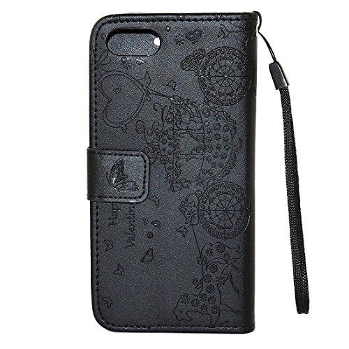 SKKMA Case Cover Pour iPhone 7 Modèle de chariot de papillon en fleur pressé Diamond Encrusted Horizontal Flip Housse en cuir PU en cuir avec porte-cartes et porte-monnaie et cadre photo et lanière (  Black