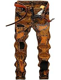 76f4f0dbac0b0 YYZYY Classique Homme Mode Décontractée Trous Jeans Pantalons Mens Denim  Trousers Pants ...