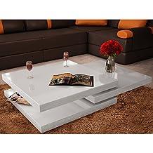 Festnight Mesa de Centro Escalable con 3 Pisos Mesa de Café Estilo Moderno Color Blanco de Alto Brillo (80 x 80 x 30,5 cm)