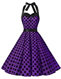 Dressystar Vestidos De Muejers Corto Halter Lunares Rretro Vintage 50s 60s Rockabilly Purple Black Dot XXL