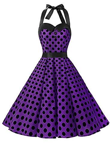 Dressystar DS1957 Robe de bal Polka Vintage pin-up à 'Audrey Hepburn' 50's 60's Rockabilly Halter,dos nu, Pourple à pois noir L